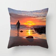 Evening Sunset Surfing Throw Pillow