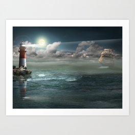 Lighthouse Under Back Light Art Print