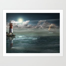 Lighthouse Under Back Light Art Print