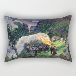 Tyrol Mountains Summer Solstice Eve Alpine Bonfires landscape painting by Nikolai Astrup Rectangular Pillow