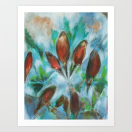 """Freedom"" painting of robins in an abstract sky, with trees Art Print"