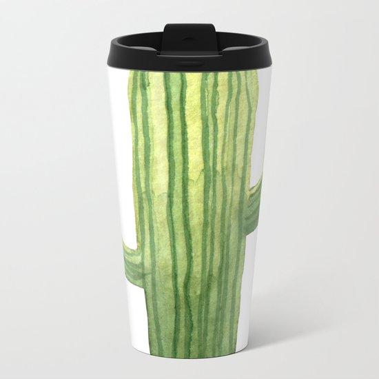 Simple Green Cactus on White Metal Travel Mug