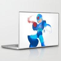 megaman Laptop & iPad Skins featuring Megaman Minimalist splash poster by LoweakGraph