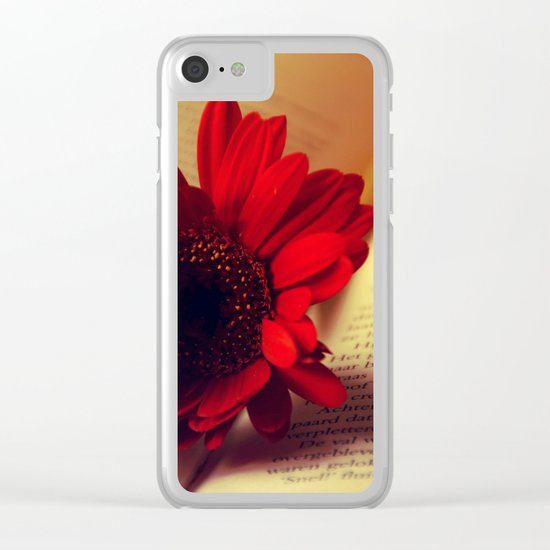 Shiny red gerbera Clear iPhone Case