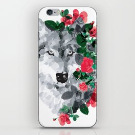 Wolf with the roses iPhone Skin