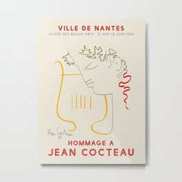 Jean Cocteau. Exhibition poster for The Fine Arts Museum of Nantes, 1964. Metal Print