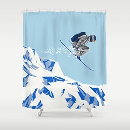 Airborn Skier Flying Down the Ski Slopes Shower Curtain