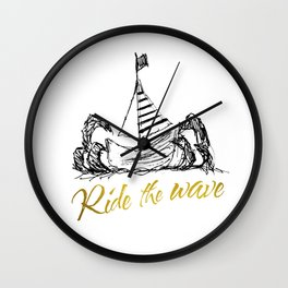 Ride the Wave Wall Clock