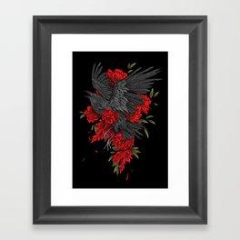 Raven with flowers Framed Art Print