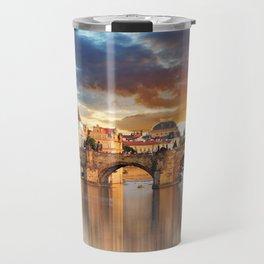 Historic Charles Bridge Prague Czechia Vitava River Europe At Romantic Evening Red Ultra HD Travel Mug