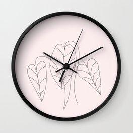 Boho Neutral Beige, Line Art Botanical 2 Wall Clock
