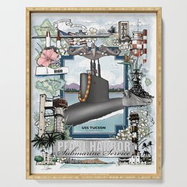 USS Tucson - Pearl Harbor Submarine Service (Silver Dolphins) Serving Tray