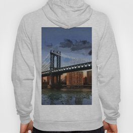 Twilight at Manhattan Bridge NYC with Twinkling White Lights Hoody