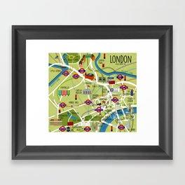 London map illustrated Framed Art Print