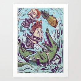 Croc Hunters Art Print