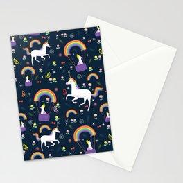Unicorns Rainbows and Parakeet Print Stationery Cards