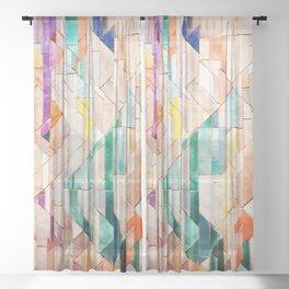 Pastel Tile Mosiac 1 Sheer Curtain