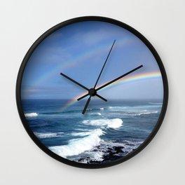 Hawaiian Double Rainbow Wall Clock