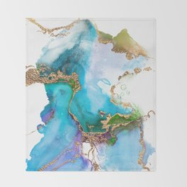 Abstract Marble Mermaid Gemstone With Gold Glitter Throw Blanket