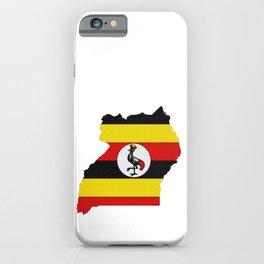 Uganda Map with Ugandan Flag iPhone Case