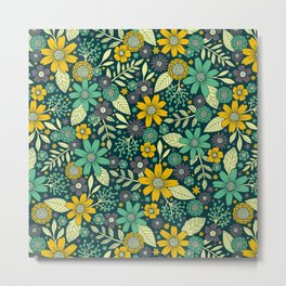 Teal, Yellow & Purple Floral/Daisy Pattern Metal Print