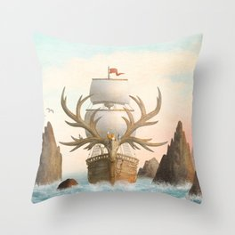 The Antlered Ship_Cover Throw Pillow