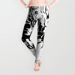 Inky Black and White Floral 1 Leggings