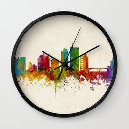 Cedar Rapids Iowa Skyline Wall Clock