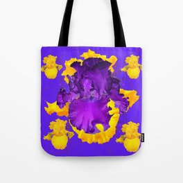 Decorative Modern Purple Iris Color Golden Pattern  Art #2 Tote Bag