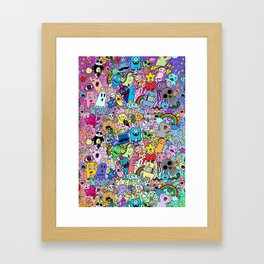 Doodle Monsters Comic Rainbow Framed Art Print