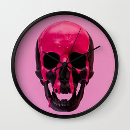 Pink Dripping Skull Wall Clock