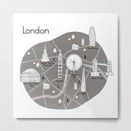 Mapping London -Grey Metal Print