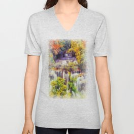Autumn landscape with waterfall Unisex V-Neck