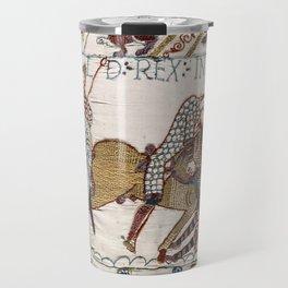 Battle of Hastings- Bayeux Tapestry King Harold Is Killed Arrow In Eye Travel Mug