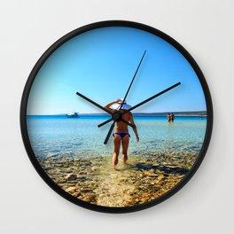 Girl at the sea in Croatia Wall Clock