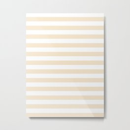 Narrow Horizontal Stripes - White and Champagne Orange Metal Print