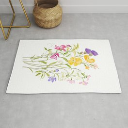 yellow pink white and  purple windflowers 2020 Rug