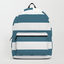 Jelly bean blue - solid color - white stripes pattern Backpack