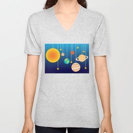Science Class Diorama of the Solar System Unisex V-Neck