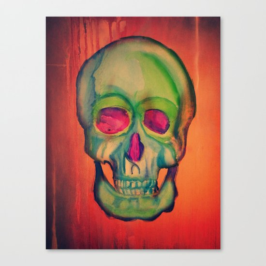 Watercolor skull/Green Canvas Print