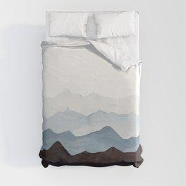 Indigo Mountains Landscape Duvet Cover