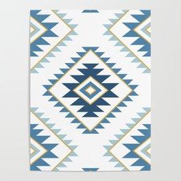 Aztec Style Motif Pattern Blues White Gold Poster
