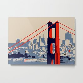 Golden gate bridge vector art Metal Print