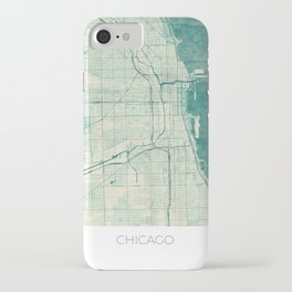 Chicago Map Blue Vintage iPhone Case