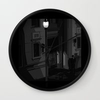 noir Wall Clocks featuring Noir by Pierre Simonnet