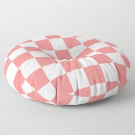 Checkered - White and Coral Pink Floor Pillow