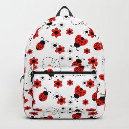 Red Ladybug Floral Pattern Backpack