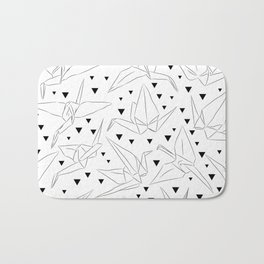 Japanese Origami white paper cranes sketch, symbol of happiness, luck and longevity Bath Mat
