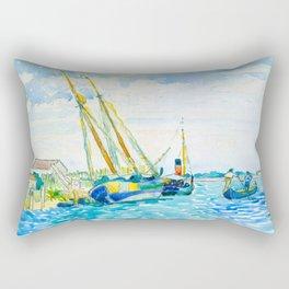 Henri-Edmond Cross Neo-Impressionism Pointillism Marine Scene (Boats near Venice) Watercolor Rectangular Pillow