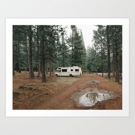 Mobile Home in a Forest Art Print